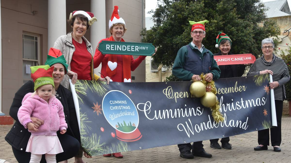 WONDERLAND: Stella Letton, Jenna Hughes, Grace Coombs, Wendy Holman, Barry Boyce, Leeanne Kelly and Barb Boyce are excited for the return of the Cummins Christmas Wonderland, which this year will be at the Cummins Institute.