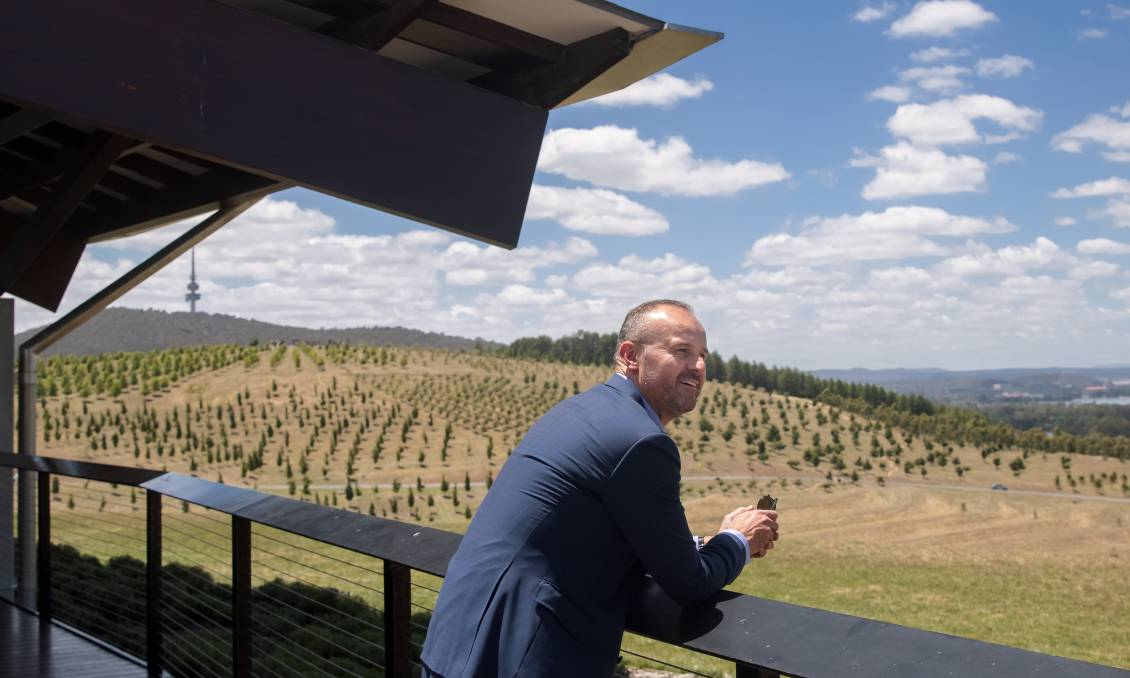Chief Minister Andrew Barr at the National Arboretum. Picture: Sitthixay Ditthavong